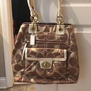Coach Hampton Lurex Signature Tote